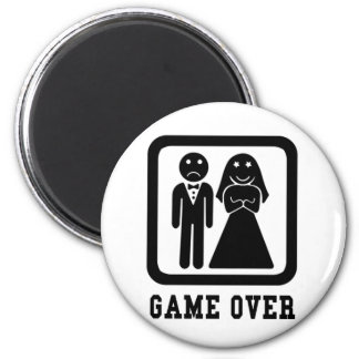 Game Over | Bachelor Stag Party Gift (Black/White) Magnet