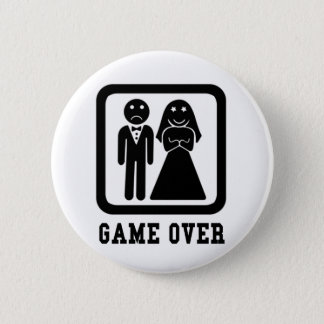 Game Over | Bachelor Stag Party Gift (Black/White) Pinback Button