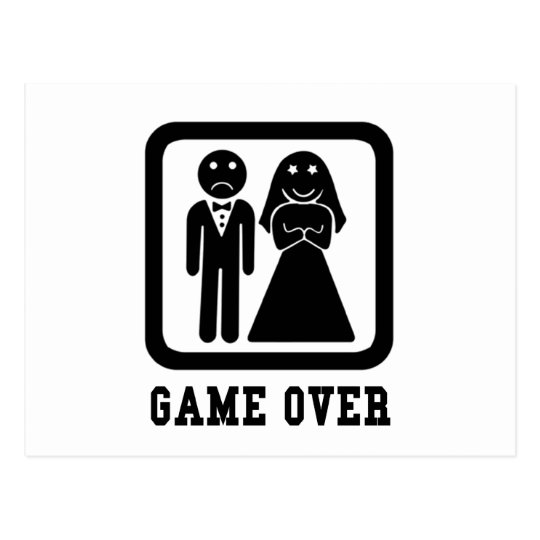 Game Over   Bachelor Stag Party Gift (Black/White) Postcard