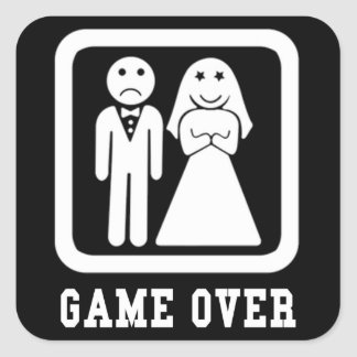 Game Over | Bachelor Stag Party Gift (Black/White) Square Sticker