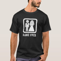 Game Over   Bachelor Stag Party Gift (Black/White) T-Shirt