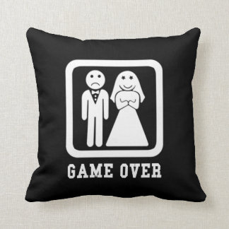 Game Over | Bachelor Stag Party Gift (Black/White) Throw Pillow
