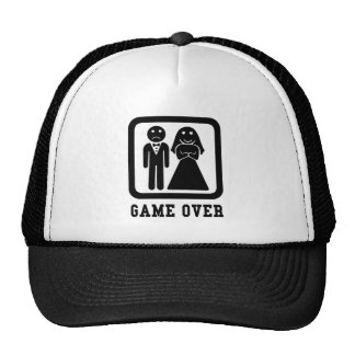 Game Over   Bachelor Stag Party Gift (Black/White) Trucker Hat