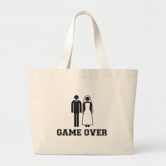 Game over, bride and groom, wedding couple canvas bags