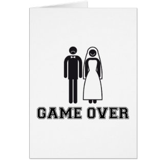Game over, bride and groom, wedding couple greeting card