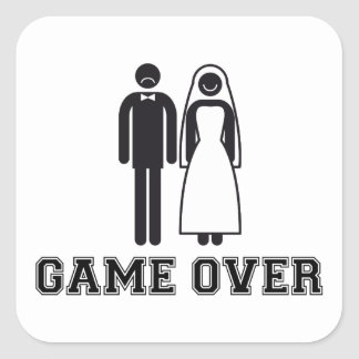 Game over, bride and groom, wedding couple square sticker