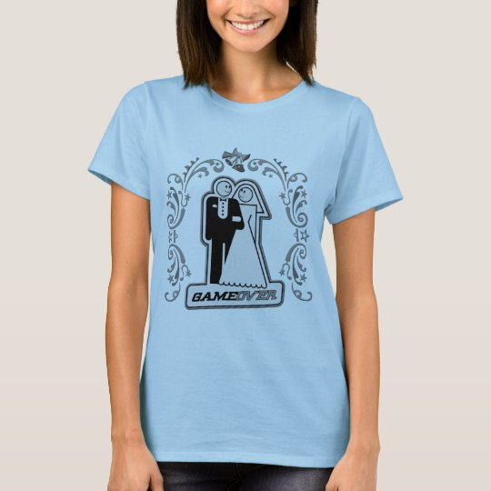 Game Over Bride & Groom Art Deco Style (silver) T-Shirt