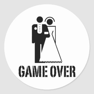 Game Over Bride Groom Wedding Classic Round Sticker
