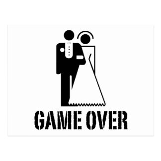 Game Over Bride Groom Wedding Postcard