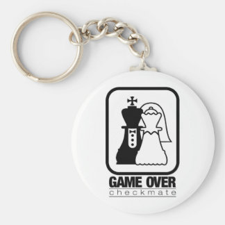 Game Over Check Mate Basic Round Button Keychain