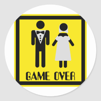 game over couple classic round sticker