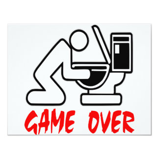 Game Over Drunk 4.25x5.5 Paper Invitation Card