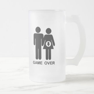 Game Over Frosted Glass Beer Mug
