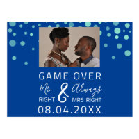 Game Over Funny Save The Date Wedding Confet Photo Postcard