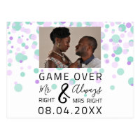 Game Over Funny Save The Date Wedding Dots Photo Postcard