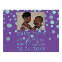 Game Over Funny Save The Date Wedding Purple Photo Postcard