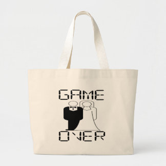 GAME OVER Funny Wedding Design Large Tote Bag