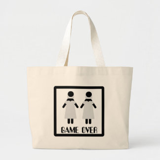 game over lesbian couple icon tote bag