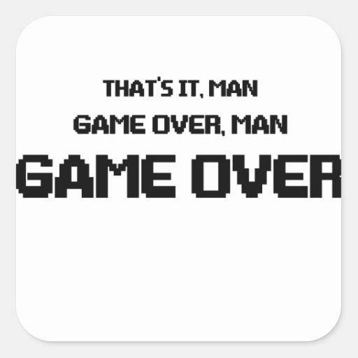 GAME OVER MAN SQUARE STICKER