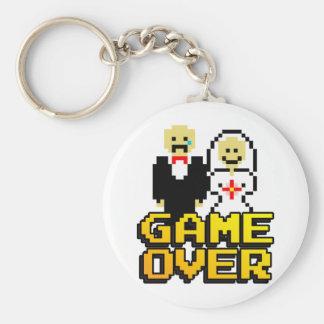 Game over marriage (8-bit) basic round button keychain