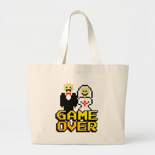 Game over marriage (8-bit) canvas bag