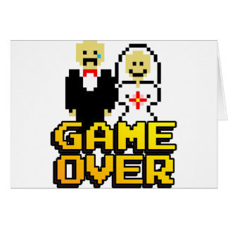 Game over marriage (8-bit) greeting card