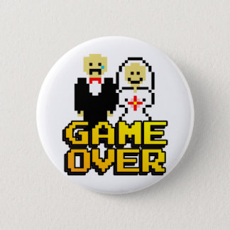 Game over marriage (8-bit) pinback button