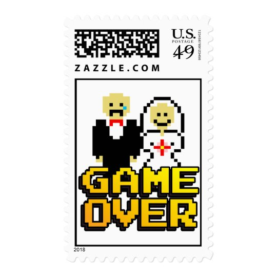 """Game Over"" Marriage (8-bit stamp) Postage"