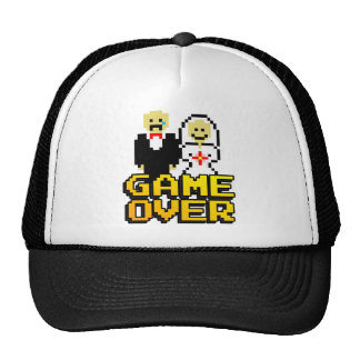Game over marriage (8-bit) trucker hat