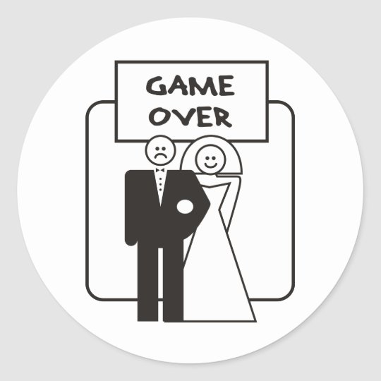 Game Over Marriage Classic Round Sticker