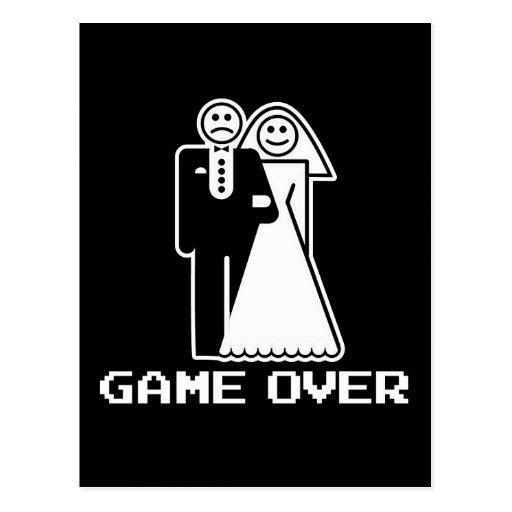 game over marriage funny wedding tshirt postcard