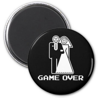 Game Over Marriage Game Over Funny tshirt 2 Inch Round Magnet