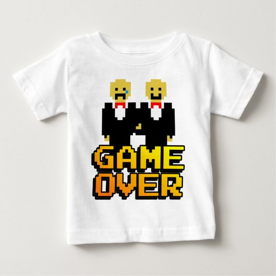 """""""Game Over"""" Marriage (Gay, 8-bit) Baby T-Shirt"""