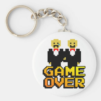 """Game Over"" Marriage (Gay, 8-bit) Basic Round Button Keychain"