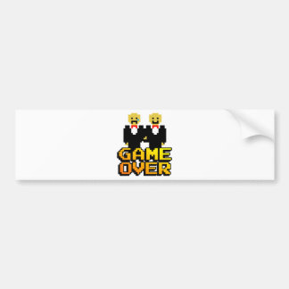 """""""Game Over"""" Marriage (Gay, 8-bit) Bumper Sticker"""