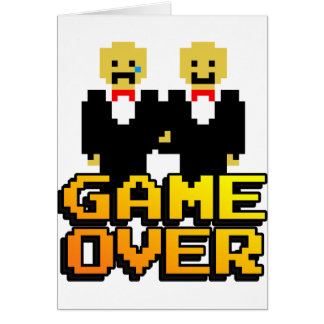 """""""Game Over"""" Marriage (Gay, 8-bit) Card"""