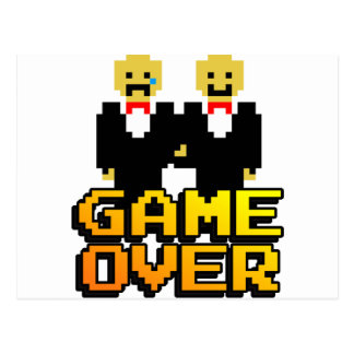 """Game Over"" Marriage (Gay, 8-bit) Postcard"