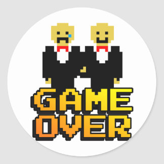 """""""Game Over"""" Marriage (Gay, 8-bit) Classic Round Sticker"""