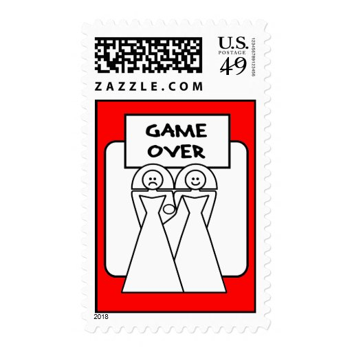 """""""Game Over"""" Marriage (Homosexual) Postage Stamps"""