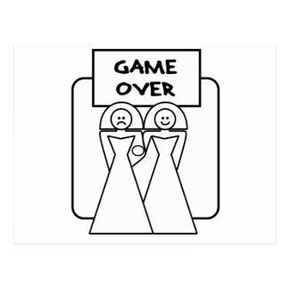 """""""Game Over"""" Marriage (Homosexual) Postcard"""