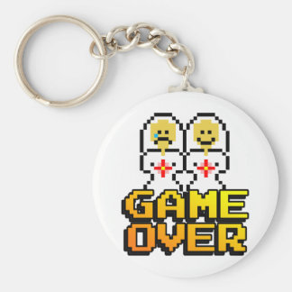 Game Over Marriage (Lesbian, 8-bit) Basic Round Button Keychain