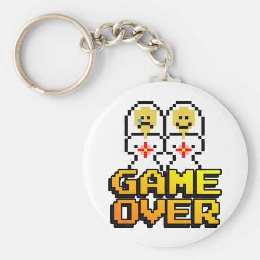 Game Over Marriage (Lesbian, 8-bit) Keychains