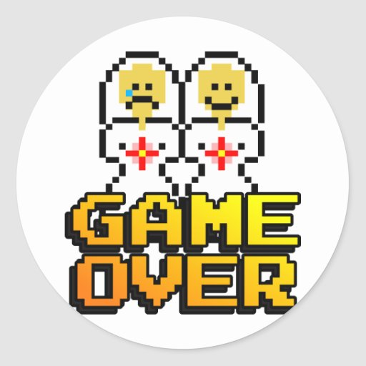 Game Over Marriage (Lesbian, 8-bit) Classic Round Sticker