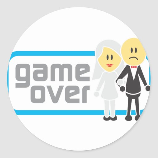 Game Over Marriage (Miis) Round Stickers