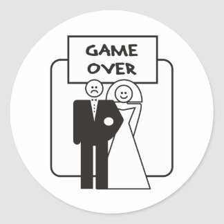 Game Over Marriage Round Stickers