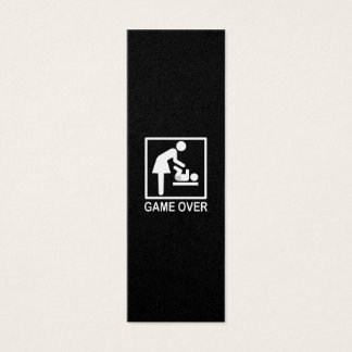 Game Over Mom Funny Black and White Pictogram Mini Business Card