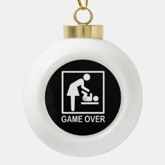 Game Over Mom Funny Signage Pictogram Ceramic Ball Christmas Ornament