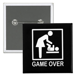 Game Over Mom Humorous Pictogram Pinback Button