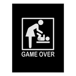 Game Over Mom Humorous Pictogram Poster