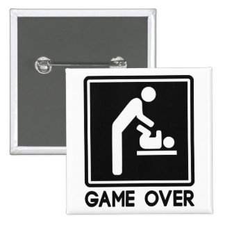 Game Over New Baby for Parent Dad 2 Inch Square Button